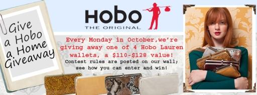 WIN 1 of 4 different Hobo Lauren Clutch wallets every Monday In October!